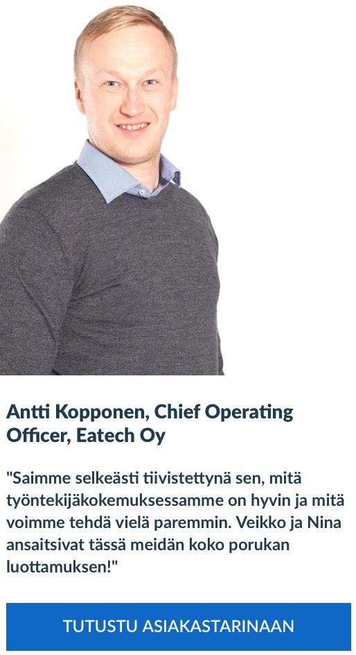 Asiakaskokemus, Antti Kopponen, Eatech Oy