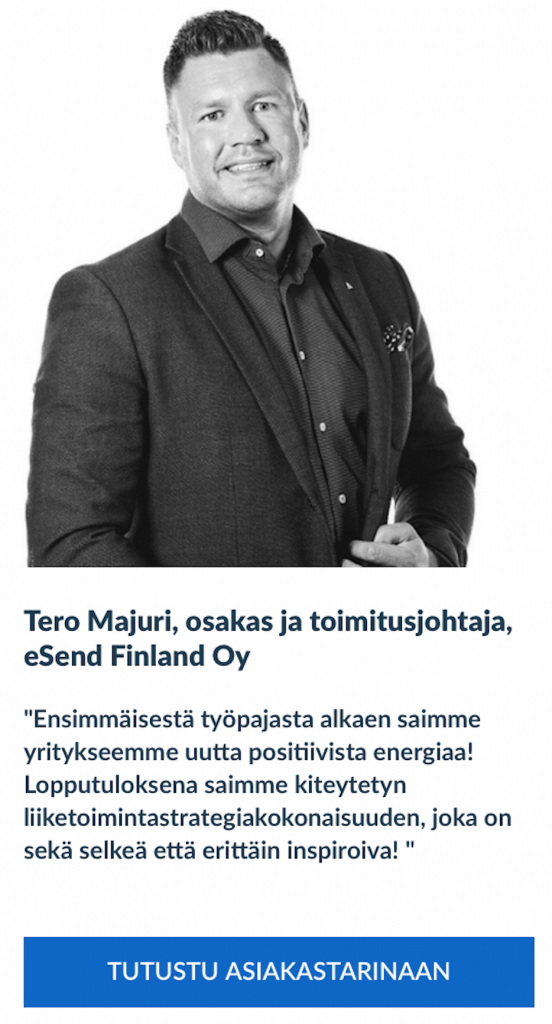 Liiketoimintamuotoilu, Tero Majuri, eSend Finland Oy